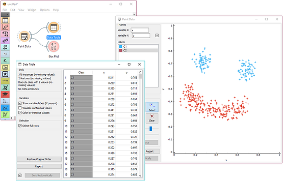 Paint a two-dimensional data set.